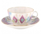 Lomonosov Imperial Porcelain Tea Set Cup and Saucer Tulip Peacock's Feather