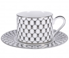 Lomonosov Imperial Porcelain Tea Set Cup and Saucer Solo Platinum