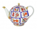 Lomonosov Porcelain Teapot Russian Lubok Tulip 10 Cups 67.6 oz 2000 ml