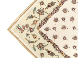 Lomonosov Russian Gift Set Сhiffon Silk Scarf 35x35 Golden Branches v.1