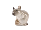 Mouse with Nut Pale Yellow Lomonosov Porcelain Figurine