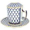 Lomonosov Imperial Porcelain Covered Tea Mug and Saucer Cobalt Net 12.8 oz