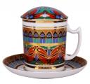 Lomonosov Imperial Porcelain Covered Tea Mug and Saucer Gothic-10