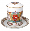 Lomonosov Imperial Porcelain Covered Tea Mug and Saucer Rostov 12.8 oz