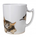 Lomonosov Imperial Porcelain Mug Listening Cat Snowy Morning 12.8 fl.oz/380 ml