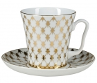 Lomonosov Imperial Porcelain Mug and Saucer Jazz Golden Net Leningradskii-2 12.2 fl.oz/360 ml