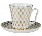 Lomonosov Imperial Porcelain Mug and Saucer Jazz Golden Net Leningradskii-2 12.2 fl.oz/360 ml