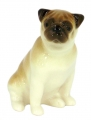 Pug Dog Sitting Lomonosov Porcelain Figurine