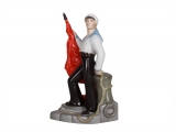 Sailor with Flag Figurine Lomonosov Porcelain Soviet Propaganda