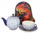 Special Offer COBALT NET TEAPOT with TEA CUP AND SAUCER get Free Collectors tin of Russian Tea