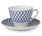 Lomonosov Imperial Porcelain Tea Cup Set Spring New Cobalt Net 7.8 oz/230ml