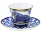 Lomonosov Imperial Porcelain Tea Set Cup and Saucer Banquet Lion Bridge 7.4 oz/220 ml