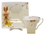 Lomonosov Imperial Porcelain Tea Set Cup and Saucer Firebird Bone China 8.45 oz/250 ml