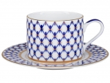 Lomonosov Imperial Porcelain Tea Set Cup and Saucer Solo Cobalt Net 10.1oz/300 ml
