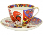 Lomonosov Imperial Porcelain Tea Set Cup and Saucer Spring Folk Patterns 7.8 oz/230 ml