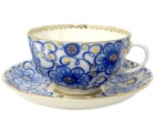 Imperial Lomonosov Porcelain Tea Set Cup and Saucer Tulip Bindweed 8.45 oz/250 ml