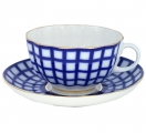 Imperial Lomonosov Porcelain Tea Set Cup and Saucer Cobalt Cell