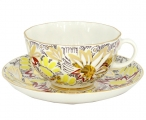 Lomonosov Imperial Porcelain Tea Set Cup and Saucer Tulip Golden Daisy 8.45 oz/250 ml