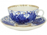 Lomonosov Imperial Porcelain Tea Set Cup and Saucer Tulip Magic Fire Bird 8.45 oz/250 ml