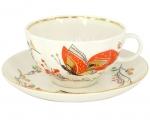 Lomonosov Imperial Porcelain Tea Set Cup and Saucer Tulip Red Butterflies 8.45 oz/250 ml
