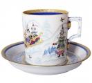 Lomonosov Imperial Porcelain Tea Set Cup and Saucer Winter Fun (4) 7.4 oz/220 ml