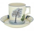 Lomonosov Imperial Porcelain Tea Set Cup and Saucer Winter 7.4 oz/220 ml