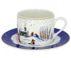 Lomonosov Imperial Porcelain Tea Set Cup and Saucer Winter Story