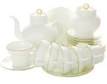 Lomonosov Imperial Porcelain Tea Set Gold Edging WHITE Bone China 6/20