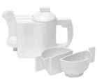 Lomonosov Imperial Porcelain Tea Set Malevich White