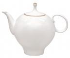 Lomonosov Imperial Porcelain Bone China Tea Pot Apple Golden Edge 22.3 fl.oz/660 ml