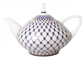 Lomonosov Imperial Porcelain Bone China Tea Pot Dome Cobalt Net 47.3 fl.oz/1400 ml