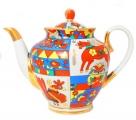 Lomonosov Imperial Porcelain Teapot Spring Folk Pattern 10 Cups 67.6 oz/2000 ml