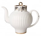 Lomonosov Imperial Porcelain Bone China Teapot Wave Tiny Branches 4 Cups 27 oz