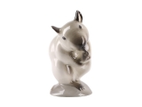 Washing Beige Mouse Lomonosov Porcelain Figurine