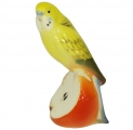 Wavy Parrot Budgerigar Yellow Lomonosov Imperial Porcelain Figurine