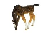 Horse Drinking Chestnut Colored Lomonosov Porcelain Figurine