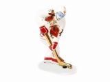 Lomonosov Porcelain Figurine Winter Sport Ice Hockey Player Red and Golden Uniform