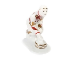Lomonosov Porcelain Figurine Winter Sport Ice Curling Player Red and Golden Uniform