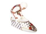 Lomonosov Porcelain Porcelain Figurine Winter Sport Bobsledder Red and Golden Uniform