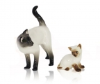 Siamese Cat Family Mom & Kitty Lomonosov Porcelain Figurine 2 items