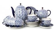 Lomonosov Porcelain Espresso/Coffee Set Tulip Cobalt Net 14 pc for 6 persons