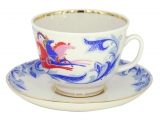 Lomonosov Imperial Porcelain Tea Set Cup and Saucer Gift Winter Troika 12.7 oz/375 ml