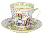 Lomonosov Porcelain Bone China Cup and Saucer Winter Day 2.71 fl.oz/80 ml