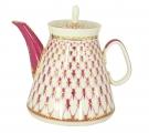 Lomonosov Imperial Porcelain Lomonosov Porcelain Teapot Red Net 16.9 oz/500 ml