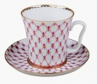 Russian Porcelain Porcelain Mug and Saucer Leningradskii Red Net 12.2 fl.oz/360 ml