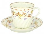 Lomonosov Bone China Twist Tea Cup and Saucer Karelia 5.24 fl.oz/155ml