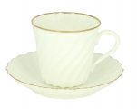 Lomonosov Imperial Bone China Twist Tea Cup and Saucer Golden Edge 5.24 fl.oz/155ml