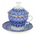 Lomonosov Porcelain Covered Cup Set Gift-2 Forget Me Not 8.45 oz/250 ml