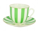 Lomonosov Porcelain Yes and No GREEN Bone China Espresso Coffee Cup and Saucer 6 oz/180 ml