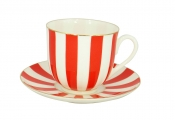 Lomonosov Porcelain Yes and No RED Bone China Espresso Coffee Cup and Saucer 6 oz/180 ml